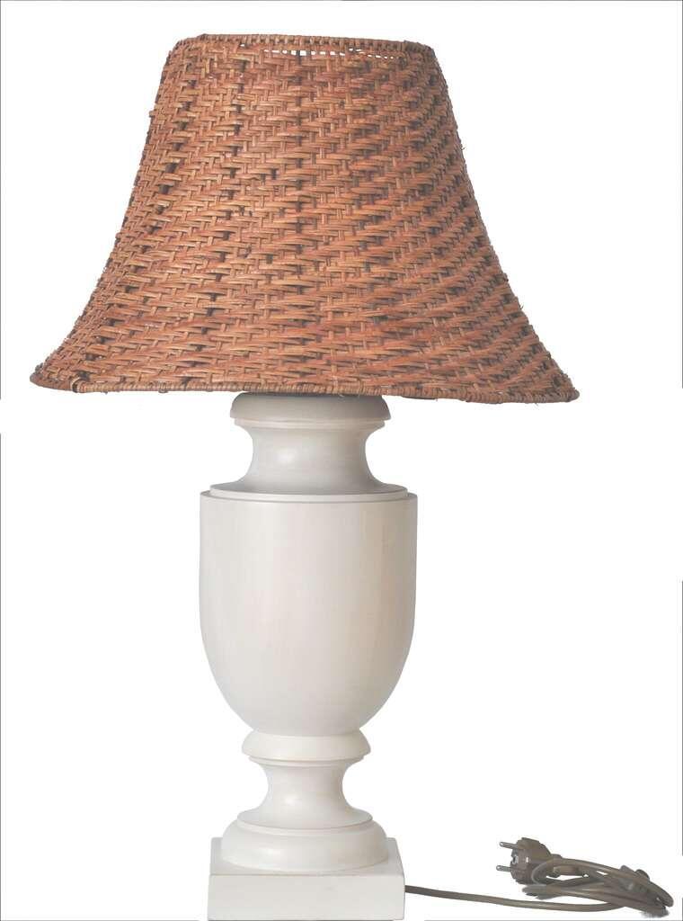 Tischleuchte Aus Holz Gedrechselt Klassische Form Ohne Lampenschirm
