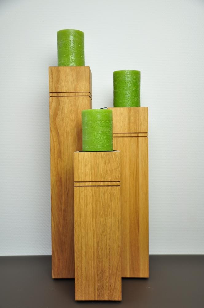 dekos ule aus holz eiche ge lt 3er set mit kerzen. Black Bedroom Furniture Sets. Home Design Ideas