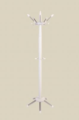 Garderobenständer - Buche weiß lackiert mit Edelstahl-Haken und Edelstahl-Füßen