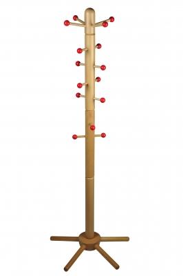 Kinder-Garderobenständer, massive Buche, mit roten Kugeln an verschiebbaren Aufhängern