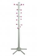 Kinder-Garderobenständer, weiß lackiert, mit pinkfarbigen Kugeln an verschiebbaren Aufhängern
