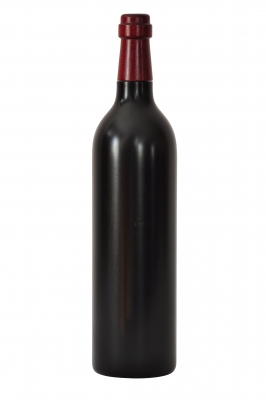Pfeffermühle aus Holz - Weinflasche 0,75 l schwarz lackiert - Deckel rot